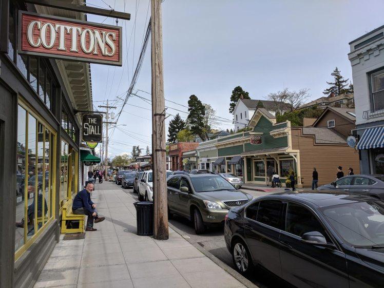 Shops line 1st St in downtown La Conner, Washington