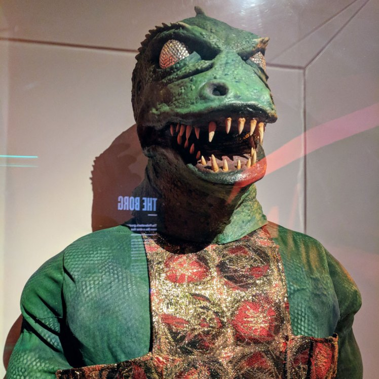 """""""The Gorn"""" costume from a 1967 Star Trek episode in a temporary exhibition at MoPOP"""