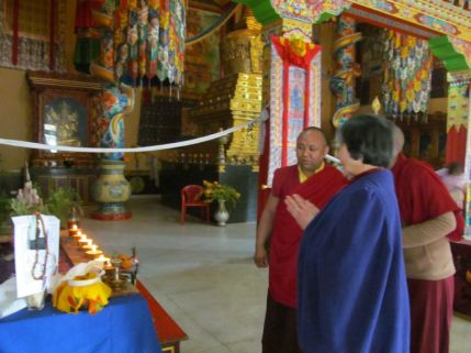 6_Dorje Palmo with Drubpan Lama Tsering Preparing for Puja Ceremony