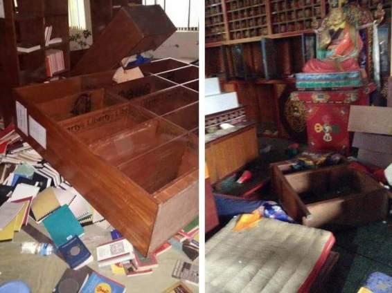 Damage inside Shrine Hall