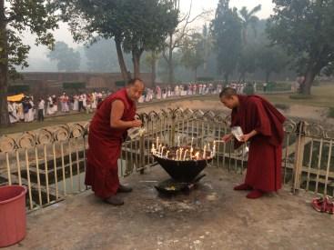 18 (Lamas lighting Butter Lamps at Nirvana Temple)