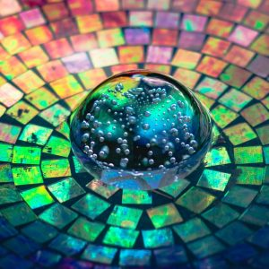 crystal glass on a colorful background