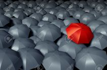 14118885-standing-out-from-the-crowd-with-a-red-umbrella-against-a-group-of-gray-umbrellas-as-a-storm-weather-stock-photo