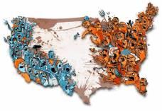 300 dpi Hector Casanova illustration of U.S. map with angry, divided citizens on each coast. The Kansas City Star 2011 krtnational national; krt; krtcampus campus; mctillustration; 11000000; 11003002; 11003004; 11010000; krtdemocrats democrats democrat; krteln election; krtgovernment government; krtpolitics politics; krtrepublicans republicans republican gop; krtuspolitics; movement; national election; party; POL; political campaign; VOTE; krtnamer north america; u.s. us united states; USA; civil unrest; debate; division; kc contributed casanova; 16003003; krtwar war; political dissent; WAR; 2011; krt2011