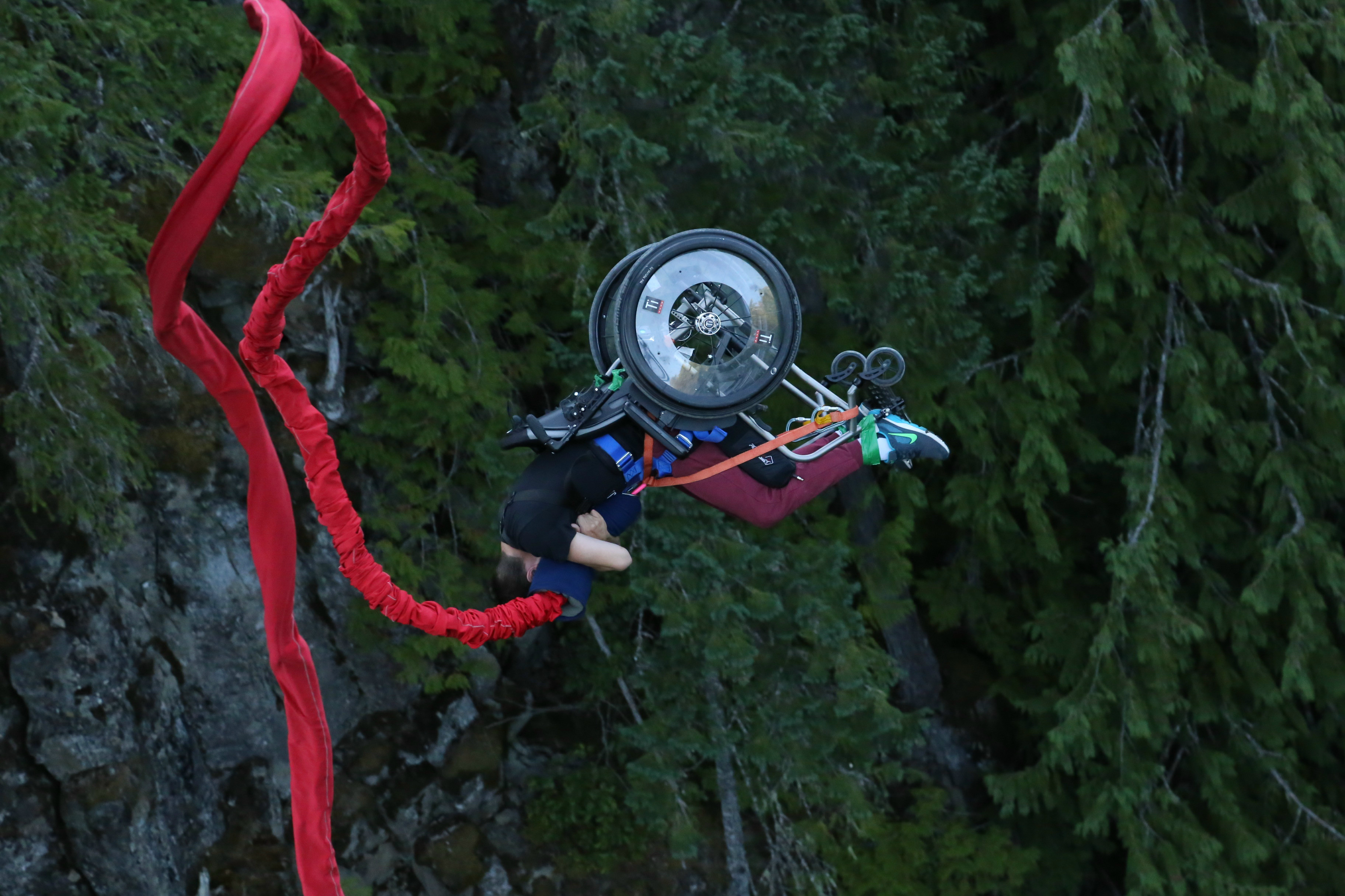 wheelchair jump vintage pink chair yoocan dylan lamoureux bungee jumping in a