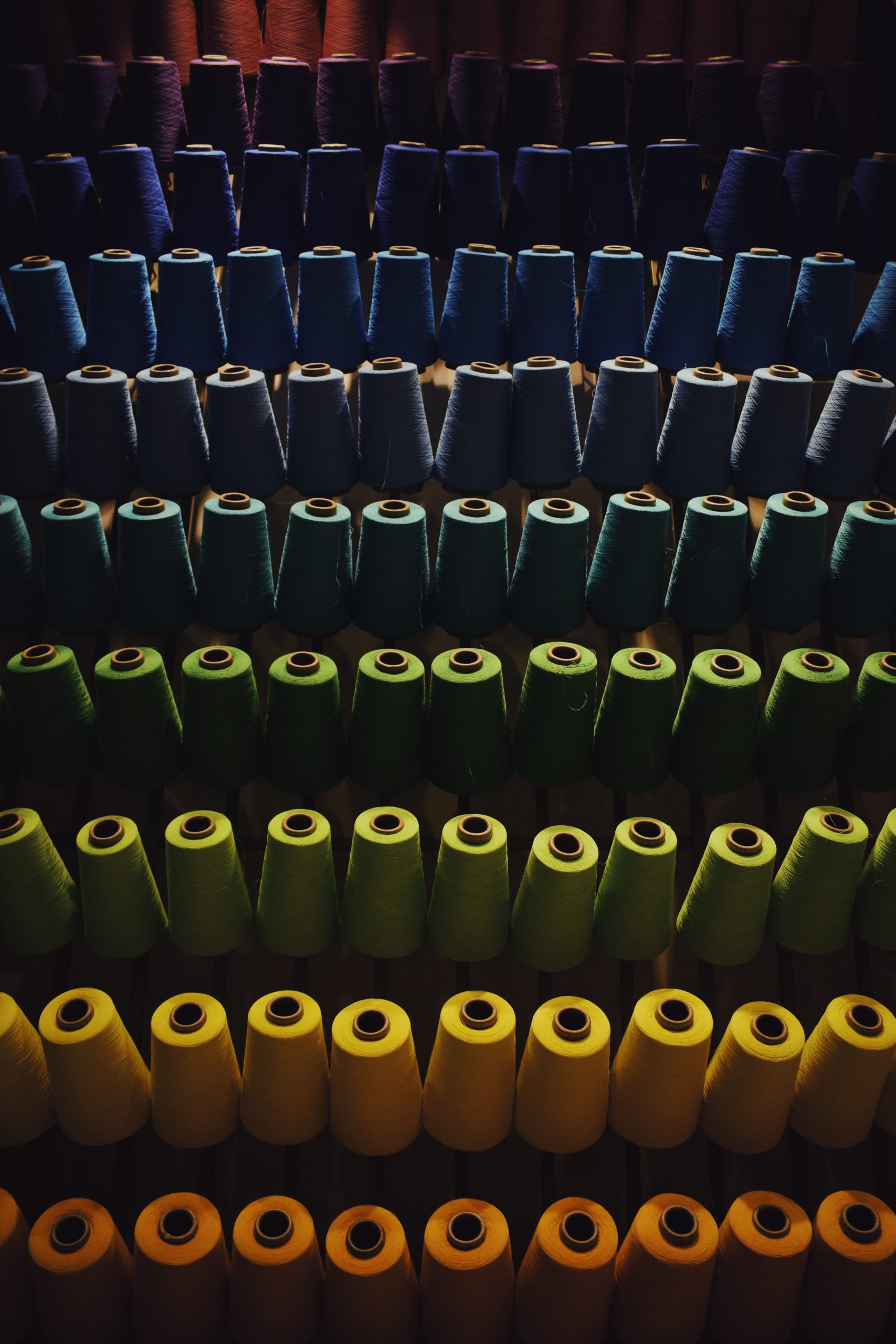 Rows of spools of colorful thread, each row another color, in a rainbow gradient.