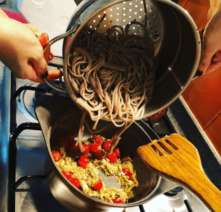 Pesto Buckwheat Pasta
