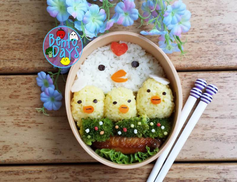Chick Bento (Egg Yolk Rice Ball)