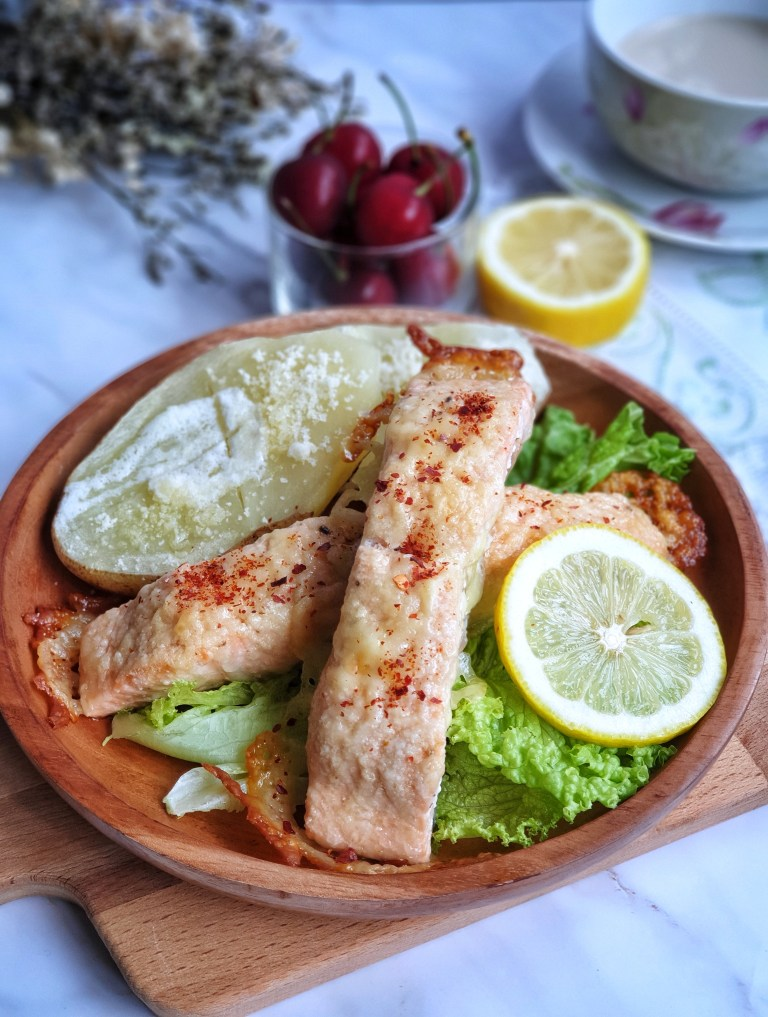 Grilled Cheesy Salmon Steak with Baked Potatoes
