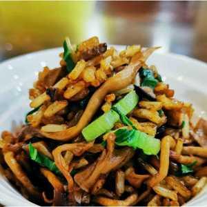 Mushroom Rice with Shanghai Green