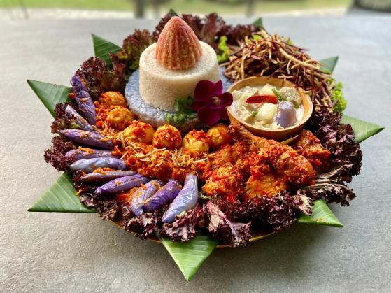 purple white red nasi tumpeng Eid celebration indonesian food recipe