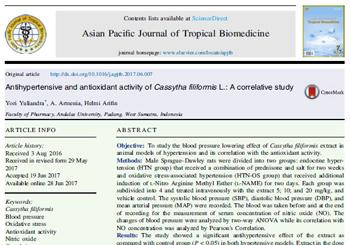 Antihypertensive and antioxidant activity of Cassytha filiformis L.: A correlative study