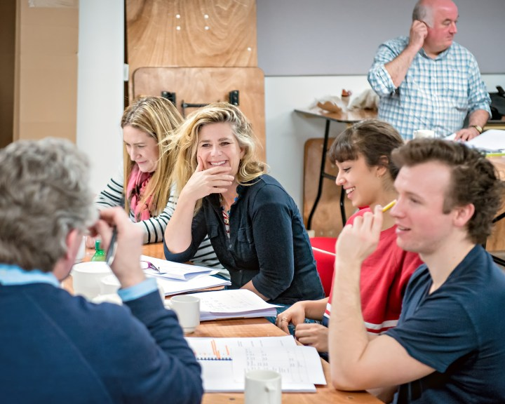 Imogen Stubbs in rehearsal for The Be All and End All. Photo Anthony Robling