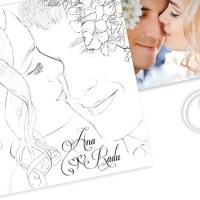 Invitatii de nunta unicat cu portretul desenat al mirilor