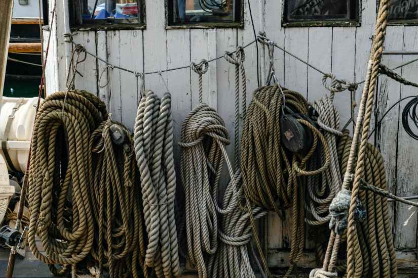 assorted ropes hanging