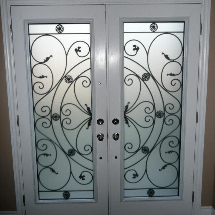 Wrought iron (glass door inserts) & DECORATIVE GLASS DOOR