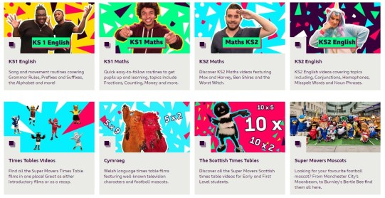 Here is a snippet I took from the BBC Supermovers webste to show the various subjects available such as fun videos of times tables and englsh to help your children learn.