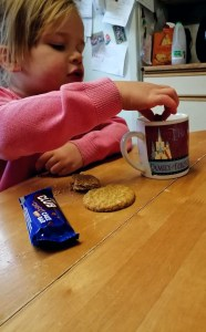 A warm drink and biscuit dunking after an adventure.