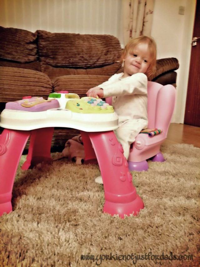 Playtime with her Fisher Price activity chair and Vtech Activity Table. A great source for your little one to learn essential skills from play time.