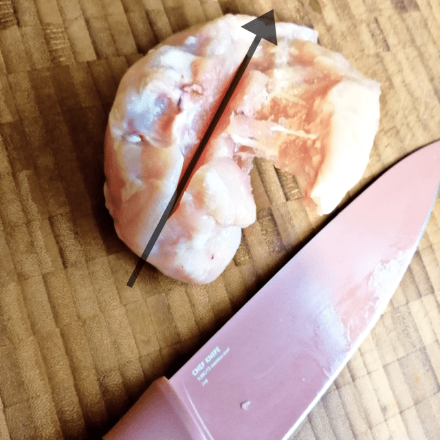 Cutting your chicken fillet in half allows it to cook quicker and more evenly, great for your Chicken fillet burger.