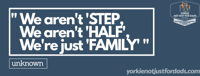A blog graphic to show another fantastic quote regarding a blended family - Step-dad, step-children-step-parent.