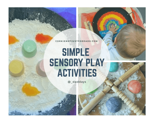 A photo collage of 3 various Sensory Play Activities from this Guest Post written by Ashley about the Sensory Play Ideas he uses at home with his son.