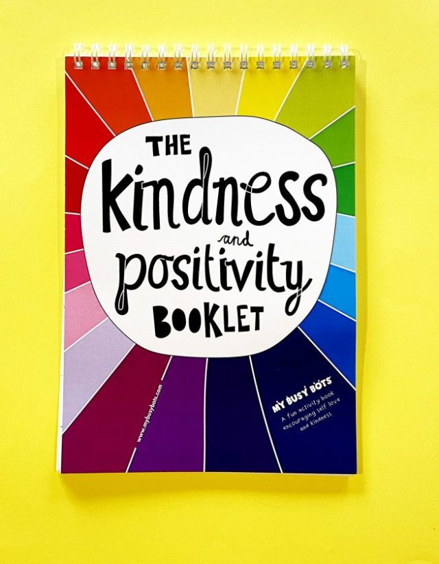 Front cover of the kindness and positivity activity book from My Busy Bots.