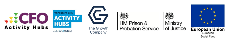 CFO Partner logos: The Growth Company, HM Prison and Probation Service, Ministry of Justice, European Social Fund