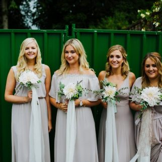 Emma's Bridesmaids. Cafe au Lait Bouquets. Photo: Tim Dunk Photography