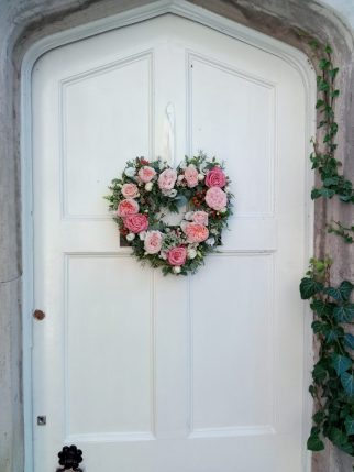 Heart wreath with David Austin Juliet Roses, homegrown and other Roses.