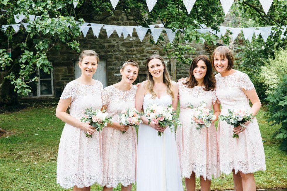 Bride, bridesmaids, wedding florist