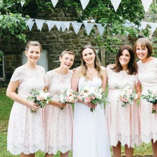 Bride, bridesmaids, wedding florist