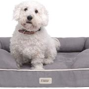"Friends Forever Orthopedic Dog Bed Lounge Sofa Removable Cover 100% Suede 2"" Mattress Memory-Foam Premium Prestige Edition 20"" x 25"" x 5"" Pewter Grey Small"