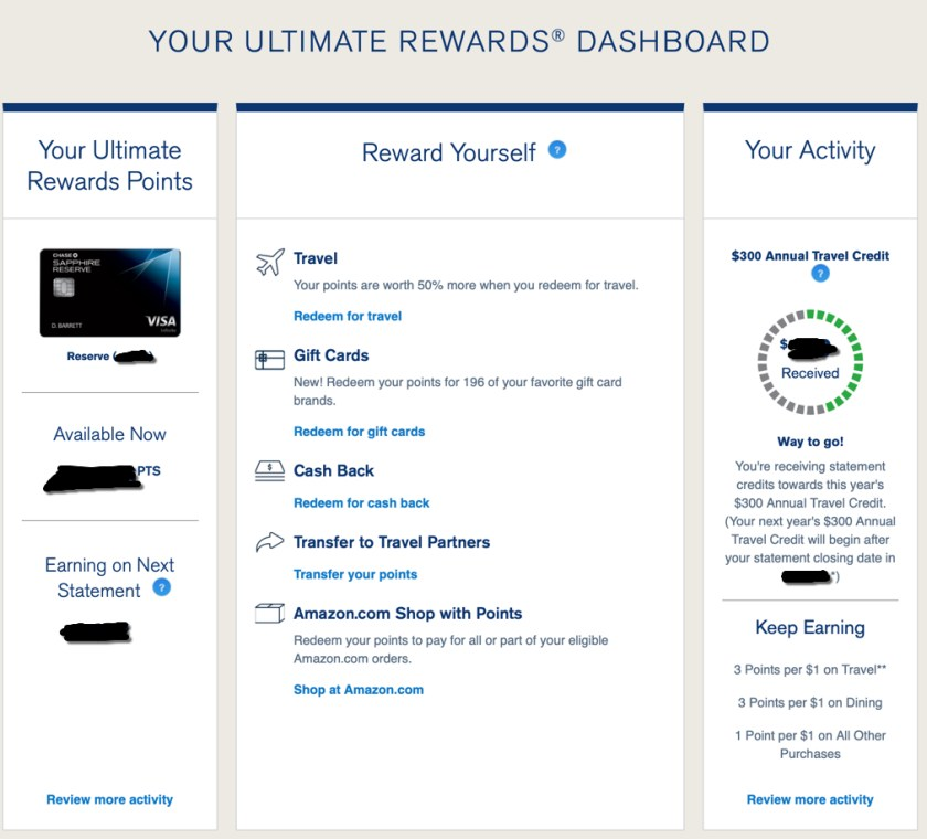 Ultimate Rewards Dashboard