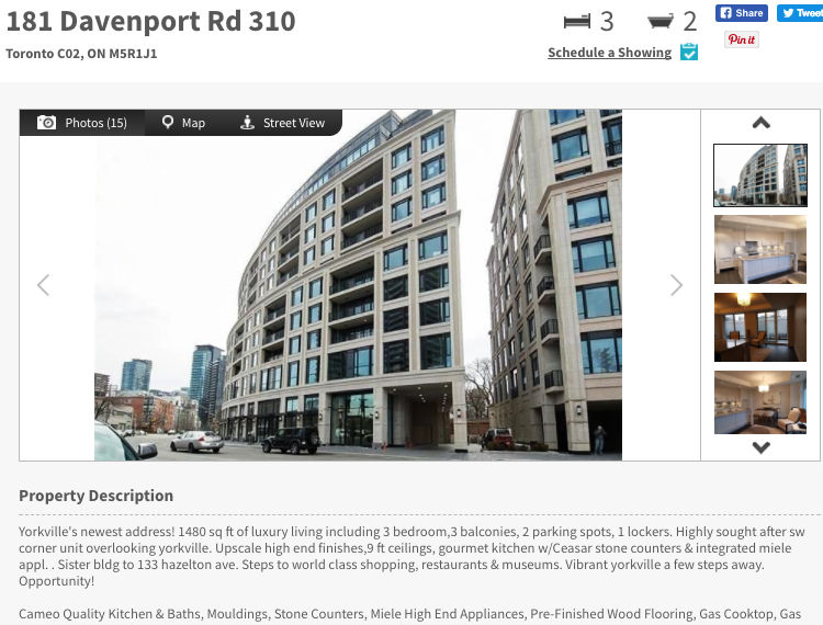 181 Davenport Rd - Three Bedroom Condo for Sale - Call Yossi KAPLAN