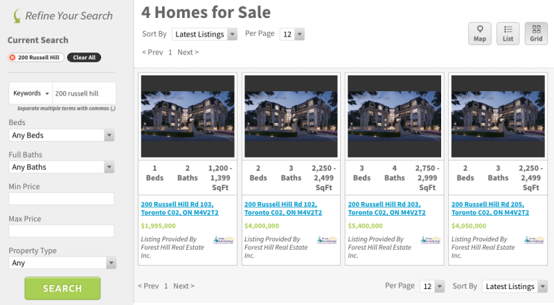 200 Russell Hill Condos for Sale - Live Listings Screenshot - Contact Yossi Kaplan