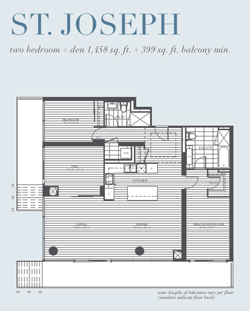 1080 BAY - FLOORPLAN TWO BED 1,458 SQ FT - CONTACT YOSSI KAPLAN