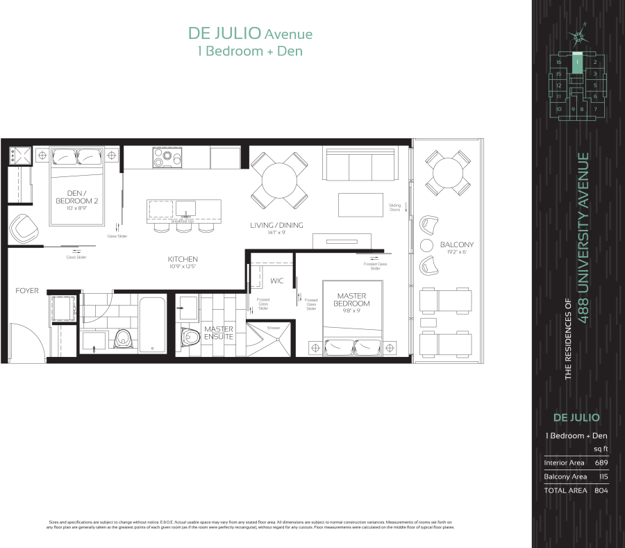 488 UNIVERSITY - FLOORPLAN ONE PLUS DEN 689 SQ FT - CONTACT YOSSI KAPLAN