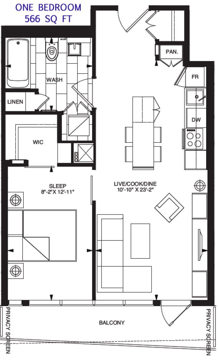 197 YONGE - FLOORPLANS ONE BED 566 SQ FT - CONTACT YOSSI KAPLAN