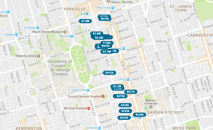 BAY STREET CORRIDOR - LIVE MAP SEARCH