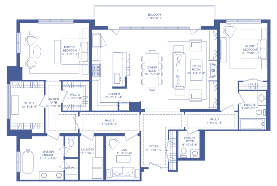 200 RUSSEL HILL - FLOORPLAN TWO BEDROOM 2369 SQ FT - CONTACT YOSSI KAPLAN