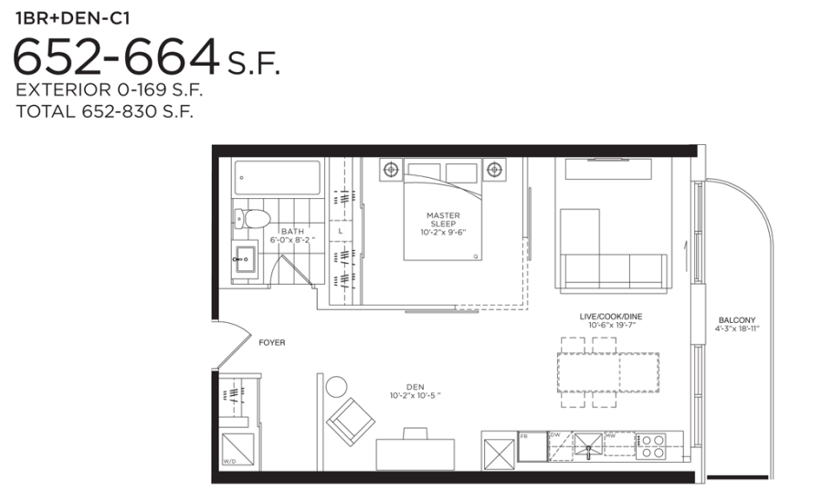 377 MADISON - FLOORPLAN ONE BED+DEN 652 SQ FT - CONTACT YOSSI KAPLAN