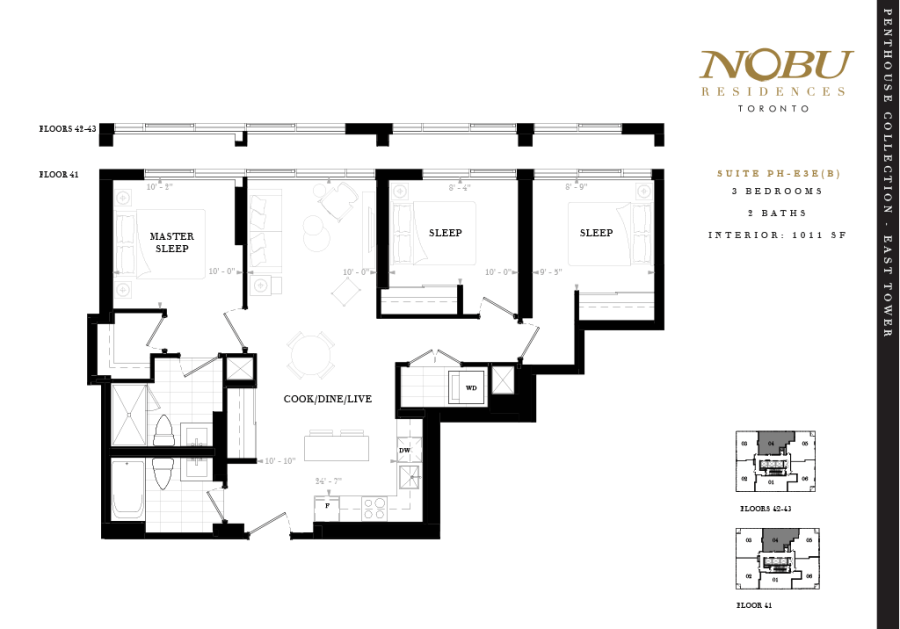 Nobu Penthouse for Sale - Floorplan Three Bedroom 1011 sq ft