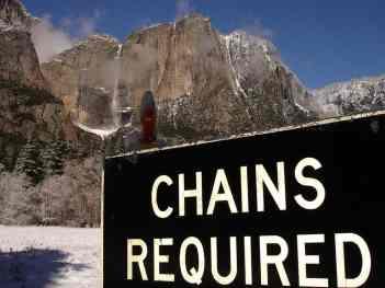 Chain Control Sign below Yosemite Falls