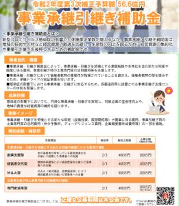 事業承継引継ぎ補助金 令和2年度3時補正予算額56.6億円