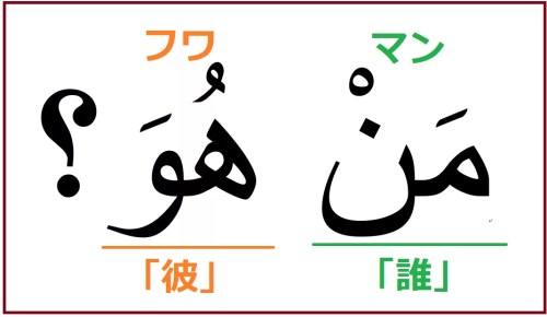 「彼は誰ですか?」を表すアラビア語「マン フワ?」