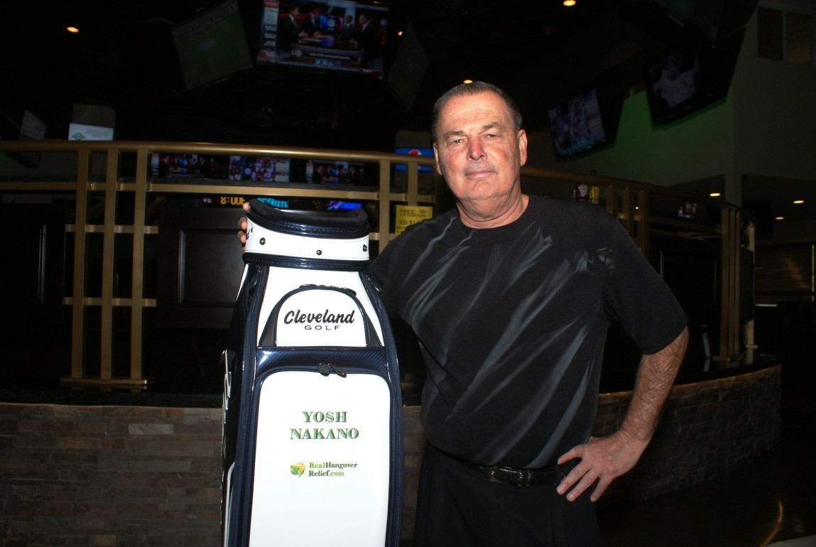 Cleveland Golf sponsored my golf bag that is part of the décor on the walls of Dewey's Indoor Golf &Sports Grill.  The logo for RealHangoverRelief.com is not very readable but with Dewey's as its foundation, it will grow throughout the state and beyond.  Always an innovator, Dewey's is also home to The GamblersGolf Hall of Fame that includes Titanic Thompson, Doyle Brunson, Puggy Pearson, Bobby Baldwin, Jack Binion, & Dewey himself.  Dewey finished 2nd twice in the World Series of Poker's.