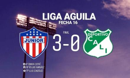 «Junior venció 3-0 a Deportivo Cali en la fecha 16 de la Liga Águila 2019-II.»