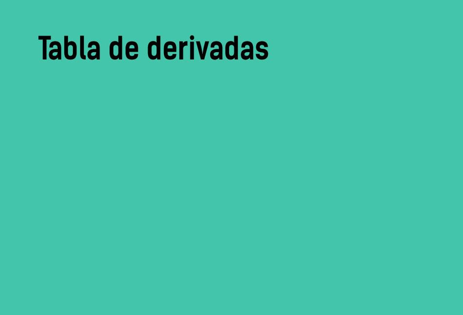 Tabla de derivadas | Exponenciales, trigonométricas, ...