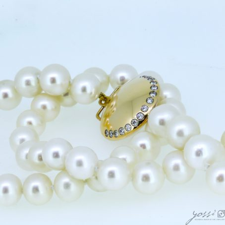 Gracefulness Pearl & Diamond Gold Necklace 4